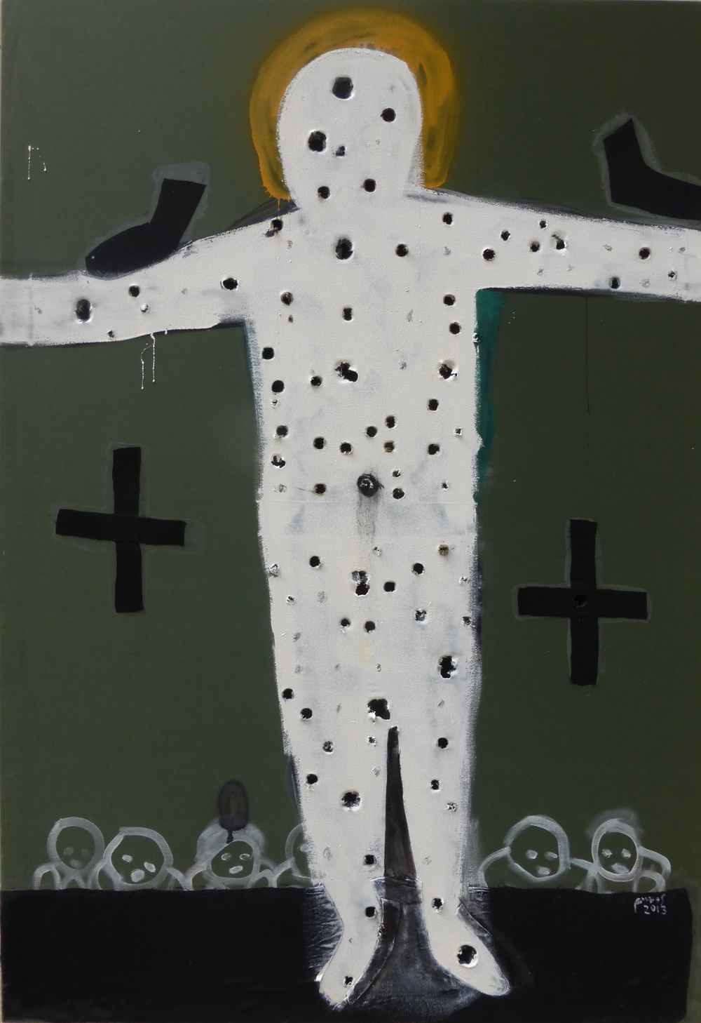 A cruciform figure with holes