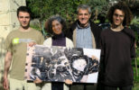 Rinos Stefani's family holding a target